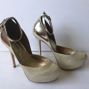 Steve Madden platform shoes gold diamond Sz 8.5